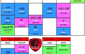 Entrainements semaine 13